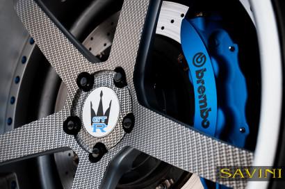 マットシルバー日産GTRサヴィーニ鍛造ホイールSV44 C凹カーボンファイバー6.jpg