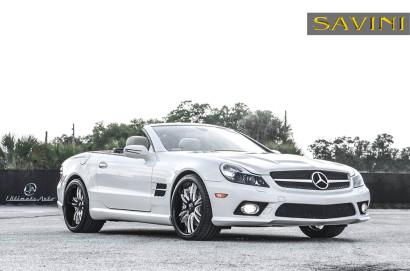 Weiß-Mercedes-Benz-SL550-Savini-Geschmiedete Räder-SV35-S-Schwarz-Weiß-3.jpg