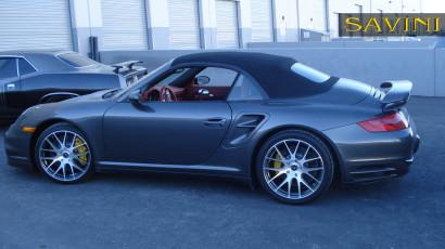 Grau-porsche-997-turbo-savini-geschmiedete Räder-sv39-m-gebürstet-schwarz-3.jpg
