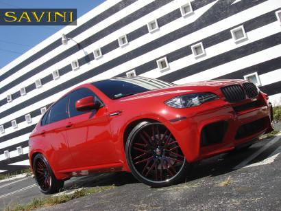 Rot-bmw-x6m-savini-geschmiedete Räder-sv25-c-konkav-schwarz-rot-5.jpg