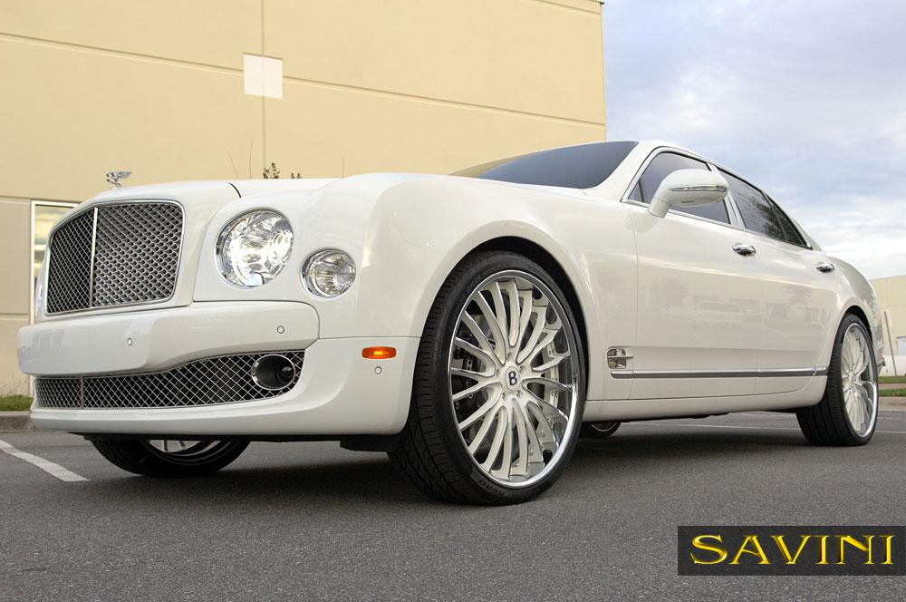White Bentley Mulsanne Savini Wheels Bs5 Chrome