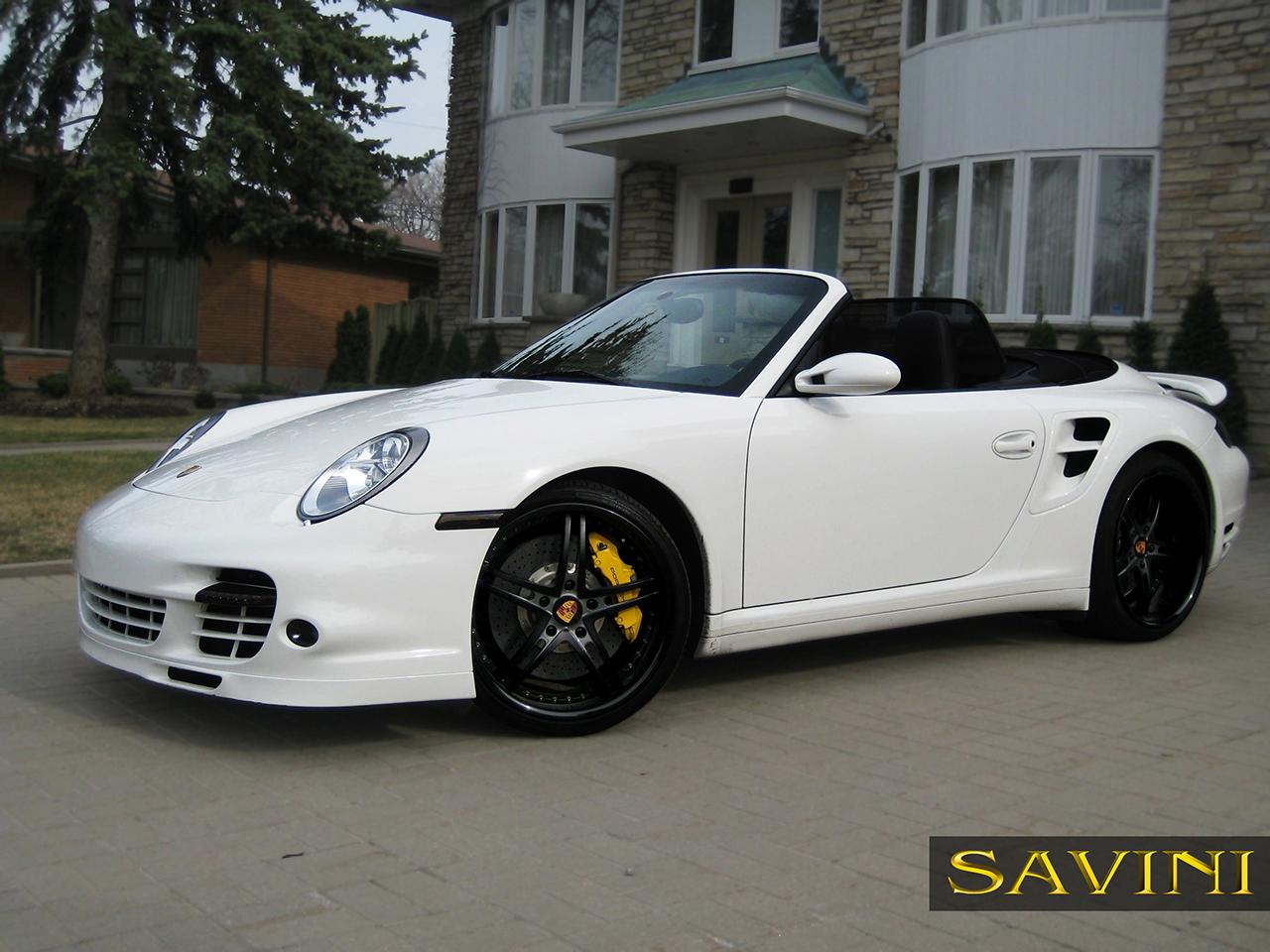 White Porsche 997 Savini Forged Wheels Sv23 S