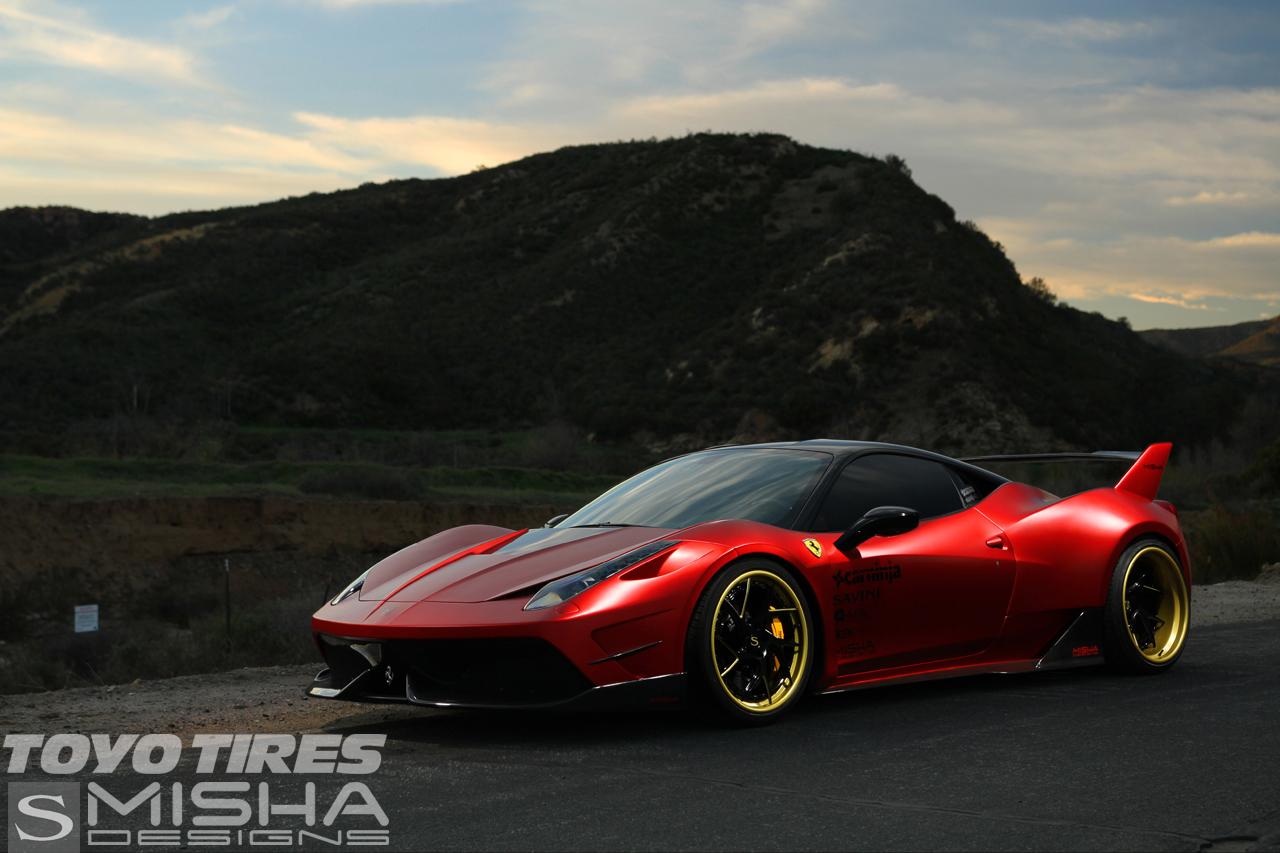 savini-wheels-savini-forged-SV67-L-matte-black-with-matte-gold-accents-ferrari-458-red-misha-carninja2